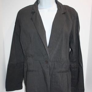 Eileen Fisher Blazer Gray one-button Jacket Blazer